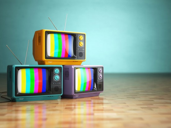 Three TV's with colorful screens symbolizing Video Production Services