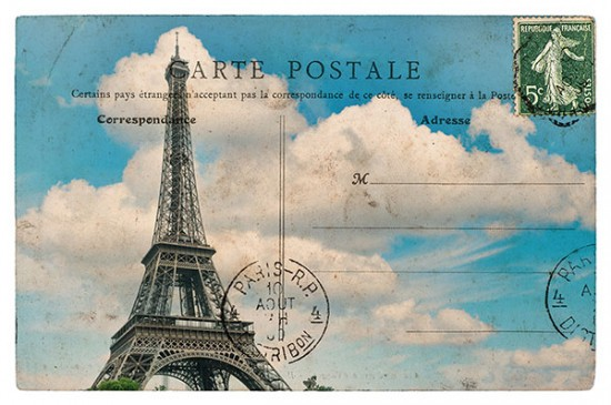 Vintage postcard with Eiffel Tower and blue sky for direct mail design