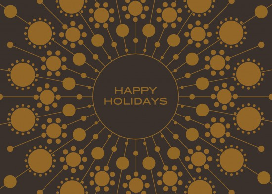 Front of holiday card printing that reads Happy Holidays on brown paper