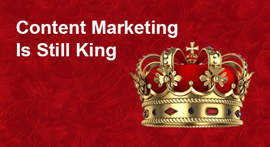 Crown on red velvet background with Content Marketing Is Still King in white text