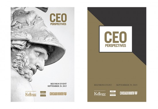Image of two program cover designs, one with roman figure Menelaus and one gold and black version
