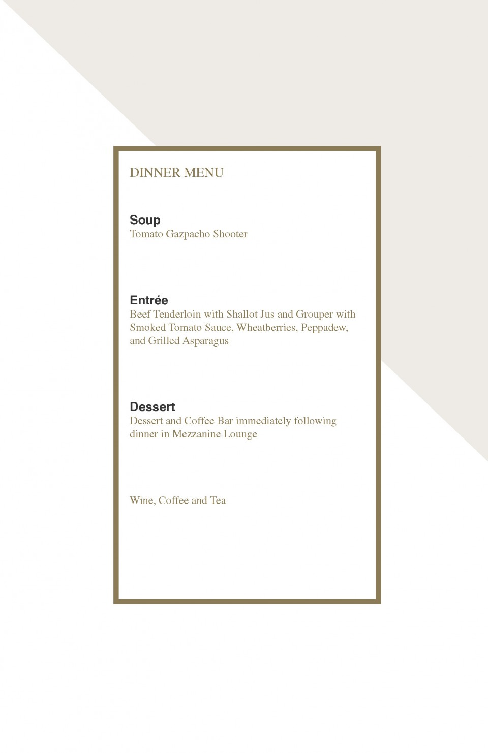 Dinner menu for ceo program design with black and gold text