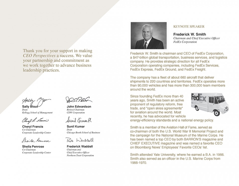 Inside of ceo program design with signatures and FedEx information