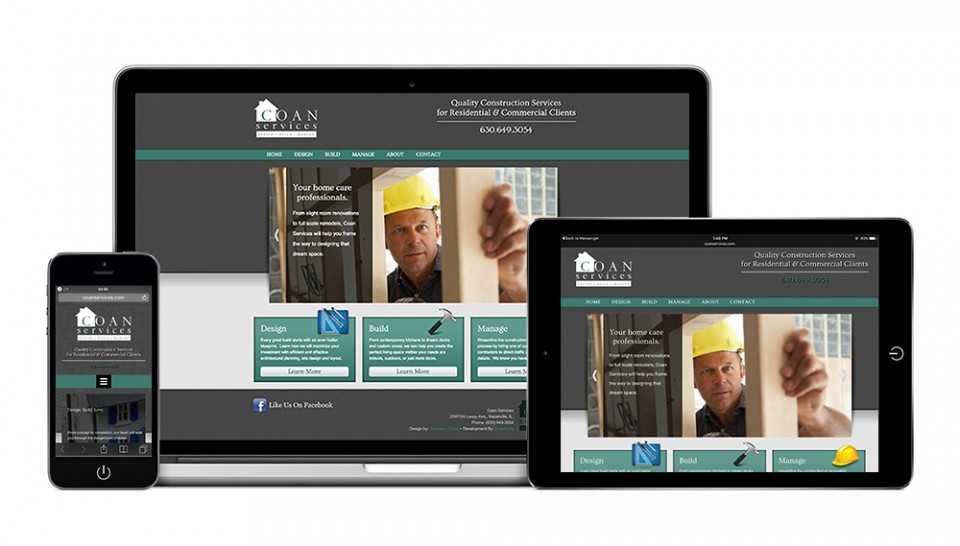 Laptop, tablet and smartphone showing a fully responsive website design example