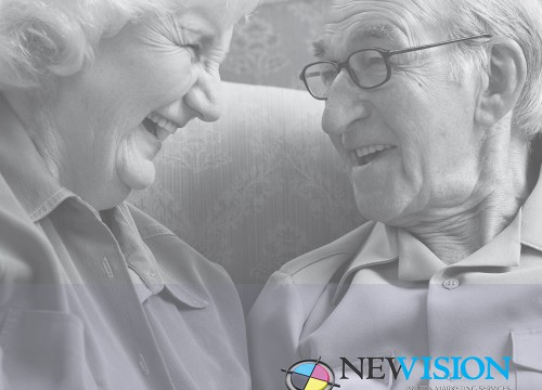 Elderly couple laughing on cover of promotional product catalog design