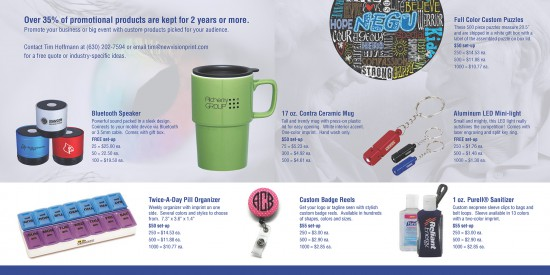 Inside of promotional product catalog design with products