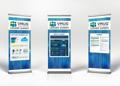 Three technology-themed custom banner stands with shadows