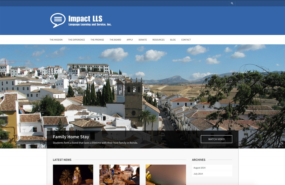 Home page of Impact LLS non profit website design