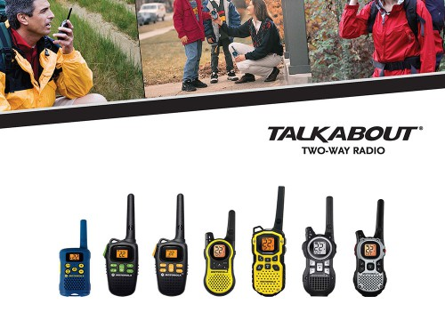 Consumers using walkie talkies on cover of b2b catalog design