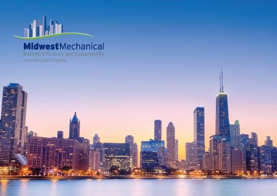 A lead nurturing postcard with the Chicago skyline and corporate logo