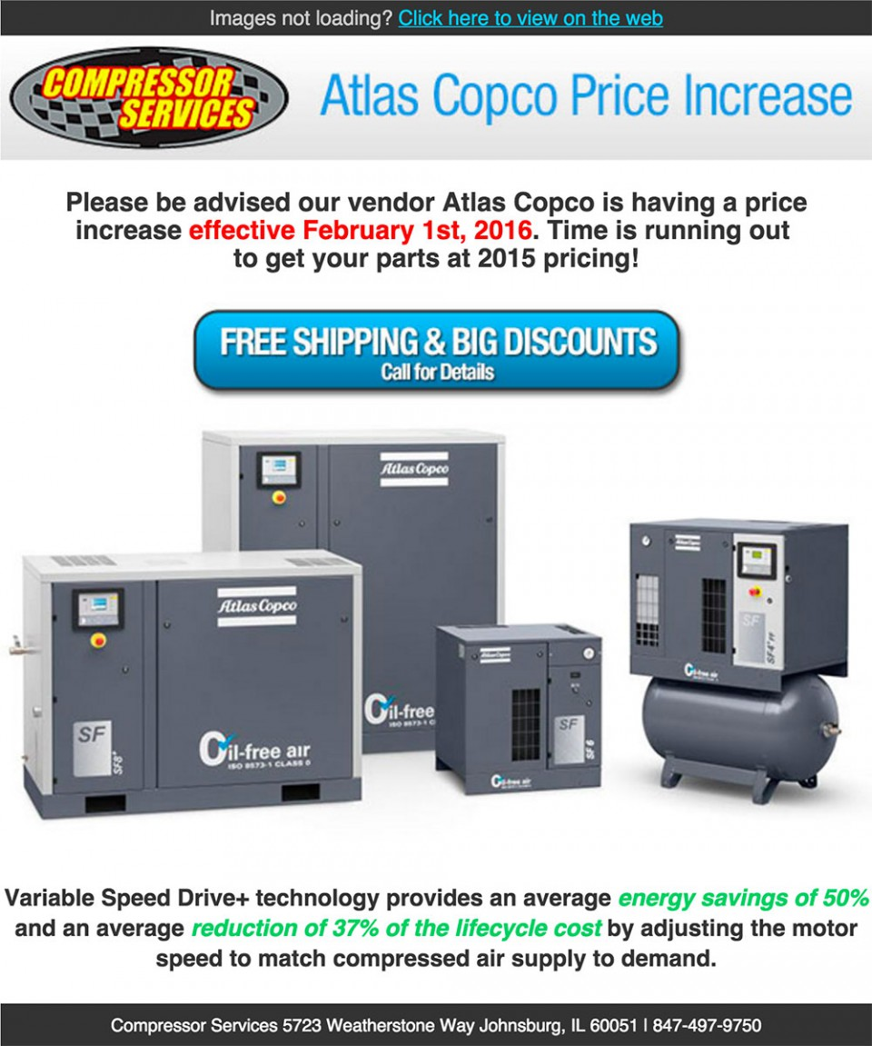 Compressor Services email marketing design with air compressors