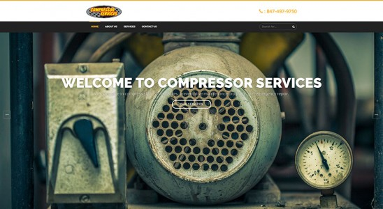 Homepage of Compressor Services business wordpress website design with air compressor