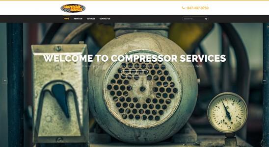 Homepage of Compressor Services business wordpress website design with air compressor
