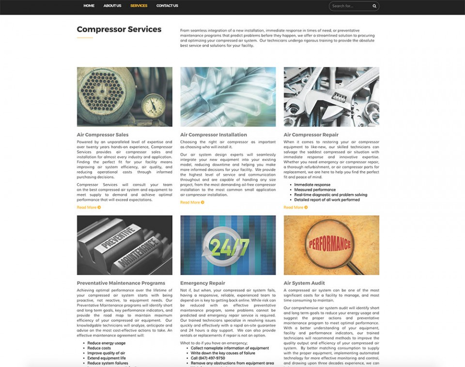 Services page with many air compressor related services