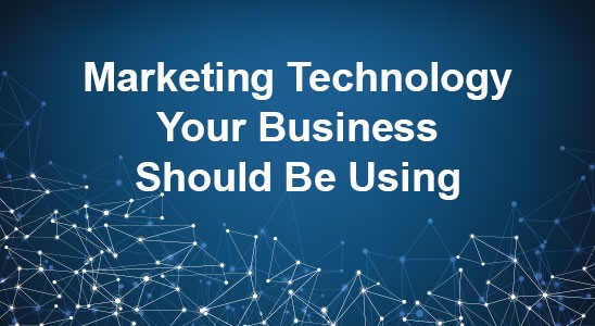 Blue background with the words marketing technology your business should be using in white