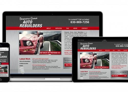 Homescreens of desktop and mobile website design for Downers Grove Auto Rebuilders