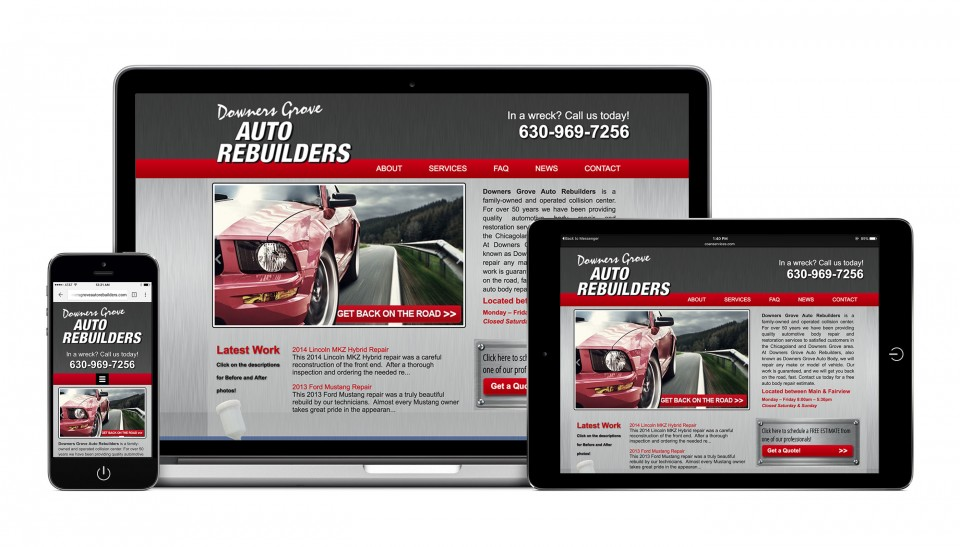 Homescreens of desktop and mobile website design for Downers Grove Auto Rebuilders