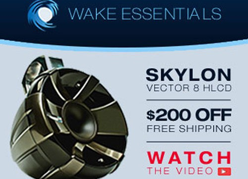 Speaker to the left of text for Wake Essentials remarketing ad design