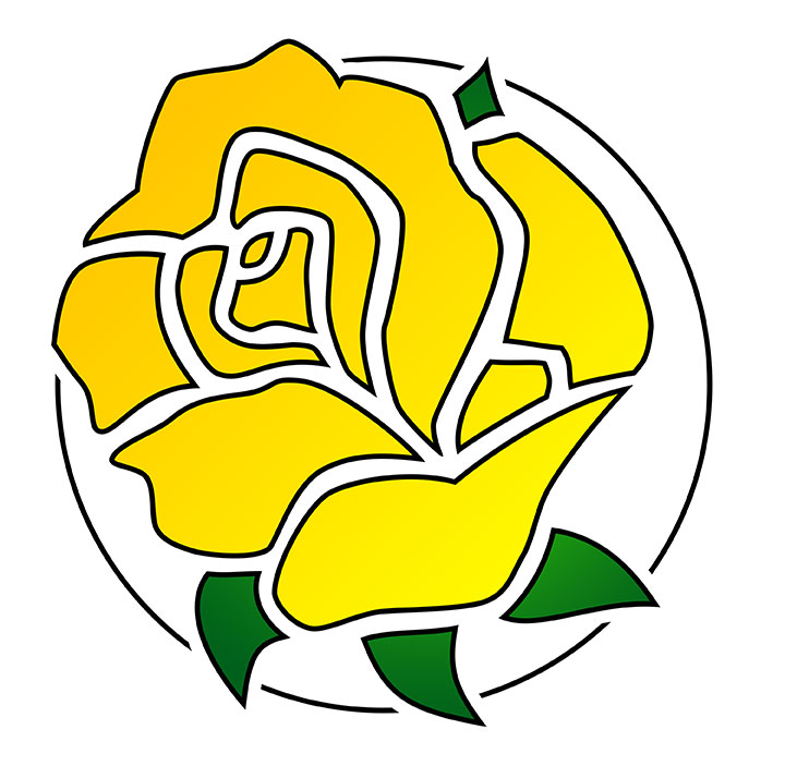 Line drawing of yellow rose logo design with thin black circle surrounding