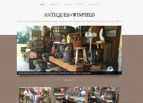 Homepage of antique store website design with brown and white color scheme