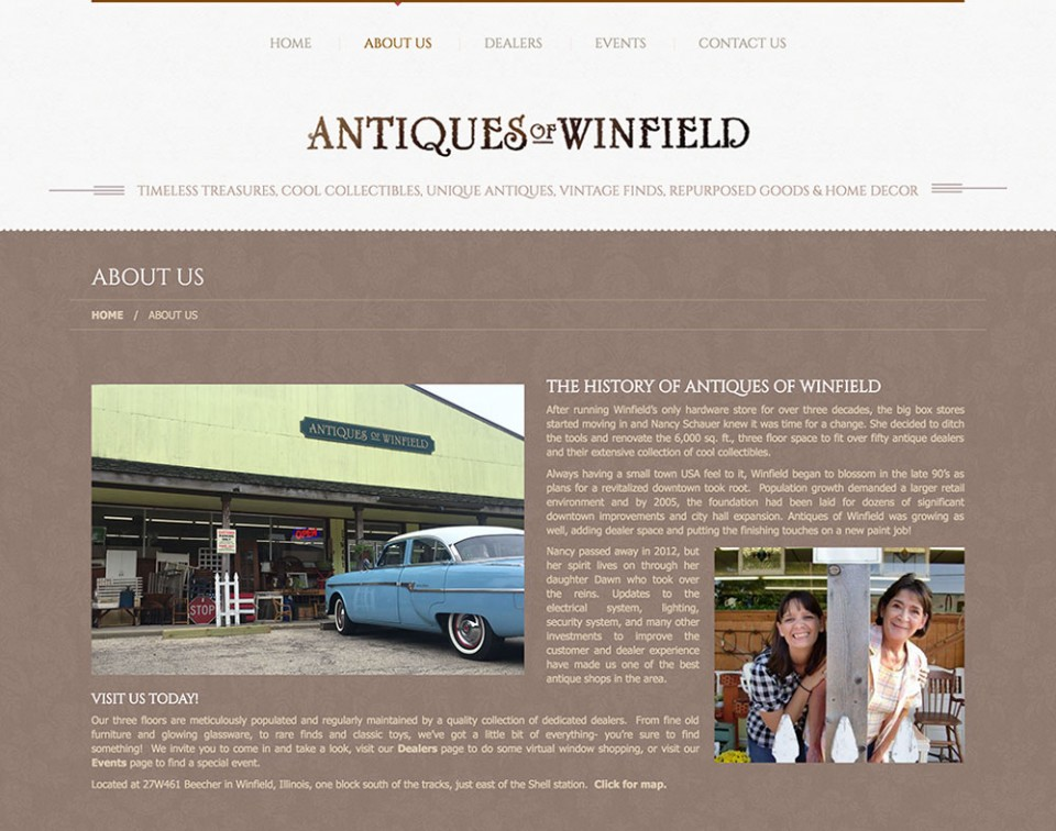 About us page for Antiques of Winfield's website with pictures and text