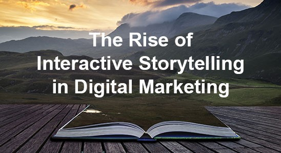 Book opening to mountain background for the rise of interactive storytelling in digital marketing article