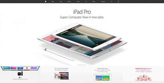 Home page screenshot of the Apple website