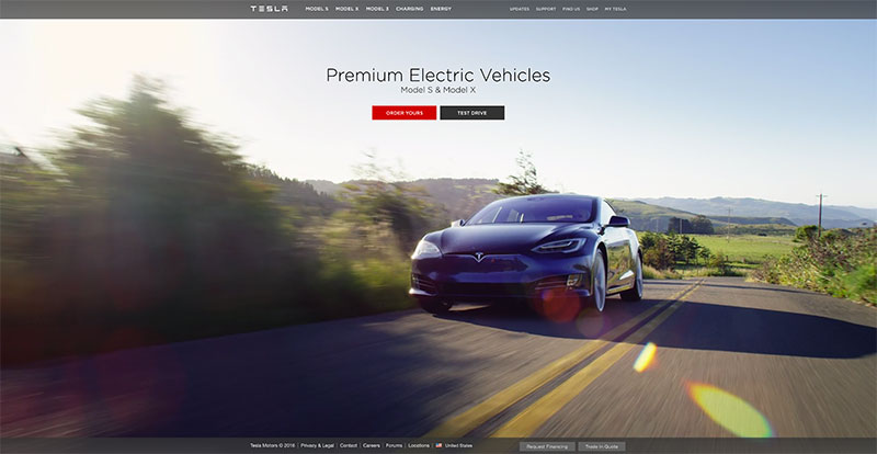 Tesla Motors home page with car and mountains for web design lessons