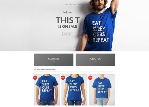 Shirt Collective's homepage WooCommerce website design with model in banner area