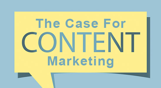 Yellow speech bubble with the words The Case For Content Marketing inside