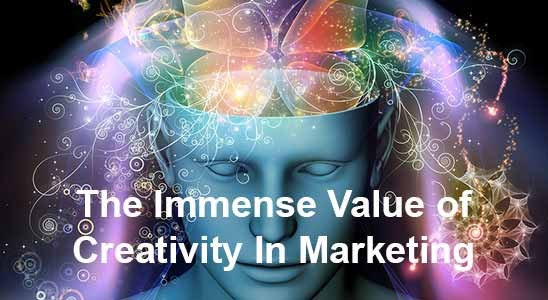 Face with creativity in marketing flowing out of brain