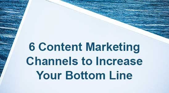 Whiteboard with blue background and title for 6 Content Marketing Channels