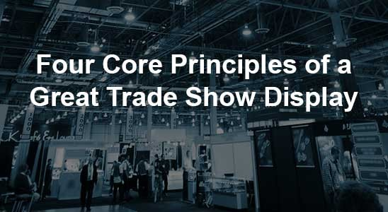 Great trade show display in background of title